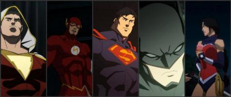 Shazam, Flash, Superman, Batman, Wonder Woman