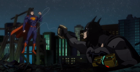 Batman trying to tase Superman